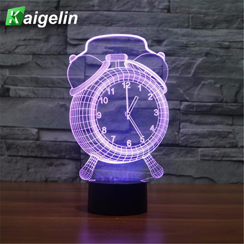 Led 3D Night Light Alarm Clock Shape Multicolored 3D Lamp Touch USB Led Lamp Novelty Desktop Night Lights Round Bottom Lava Lamp