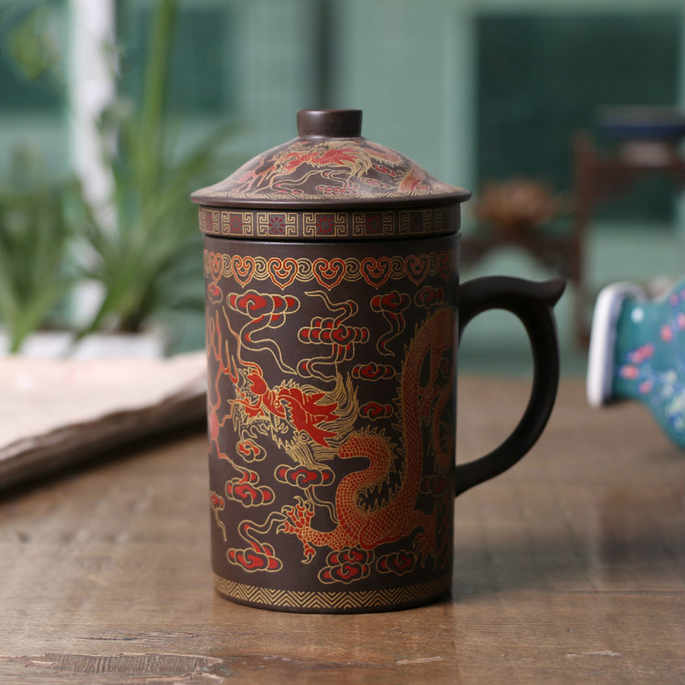 300ML Chinese Yixing Tea <font><b>Cup</b></font>,Purple Clay Dragon and Phoenix Tea Pot with Filter/Infuser for <font><b>Coffee</b></font> & Tea <font><b>Sets</b></font> image