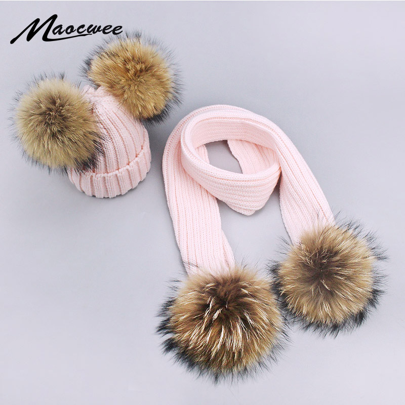 Hat Scarf Cap Girl Knitted Warm Acrylic Pink Real-Fur White Winter Kids Women Solid Pom-Pom