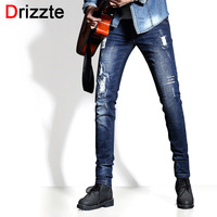 Drizzte Merk Mens Trendy Stretch Brief Pattren Ripped Verontruste Jean Black Grey Denim Slanke Designer Jeans voor Mannen Mannelijke