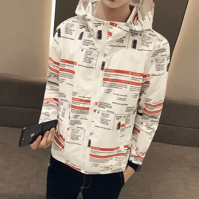2019 summer men's loose thin section sunscreen jacket large size S-XXXL quick-drying clothes men's fashion printed hooded jacket