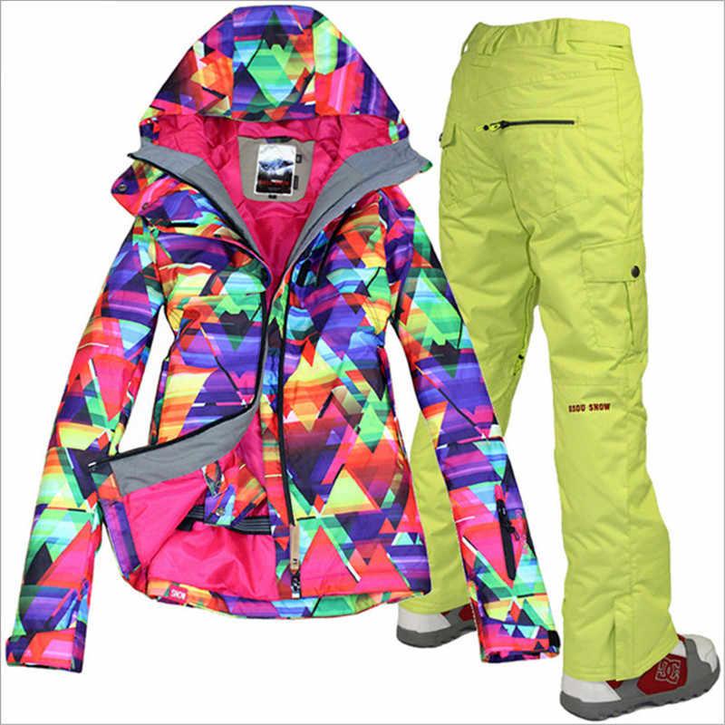 Бренд лыжный костюм Женская лыжная куртка брюки водонепроницаемый сноуборд наборы горный лыжный костюм зимняя верхняя спортивная одежда