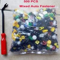 500 Adet Araba Kapı Trim Paneli Klip Tampon Perçin Tutucu Fastener Plastik Oto Itme Pimi Perçin Karışık Renk + Tornavida aracı