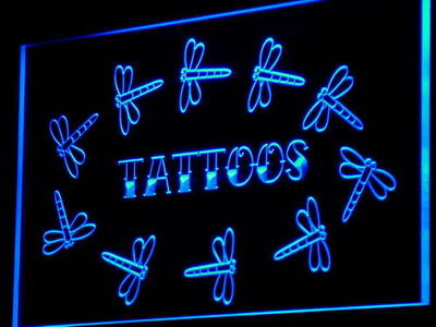 i853 Tattoo Dragonfly Enseigne Lumineuse Light Sign On/Off Swtich 20+ Colors 5 Sizes