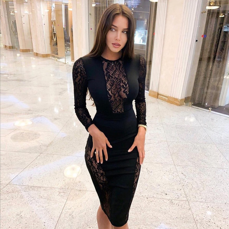 Seamyla 2019 New Bandage Dress Women Vestido Black Lace Celebrity Evening Party Dresses Sexy Long Sleeve