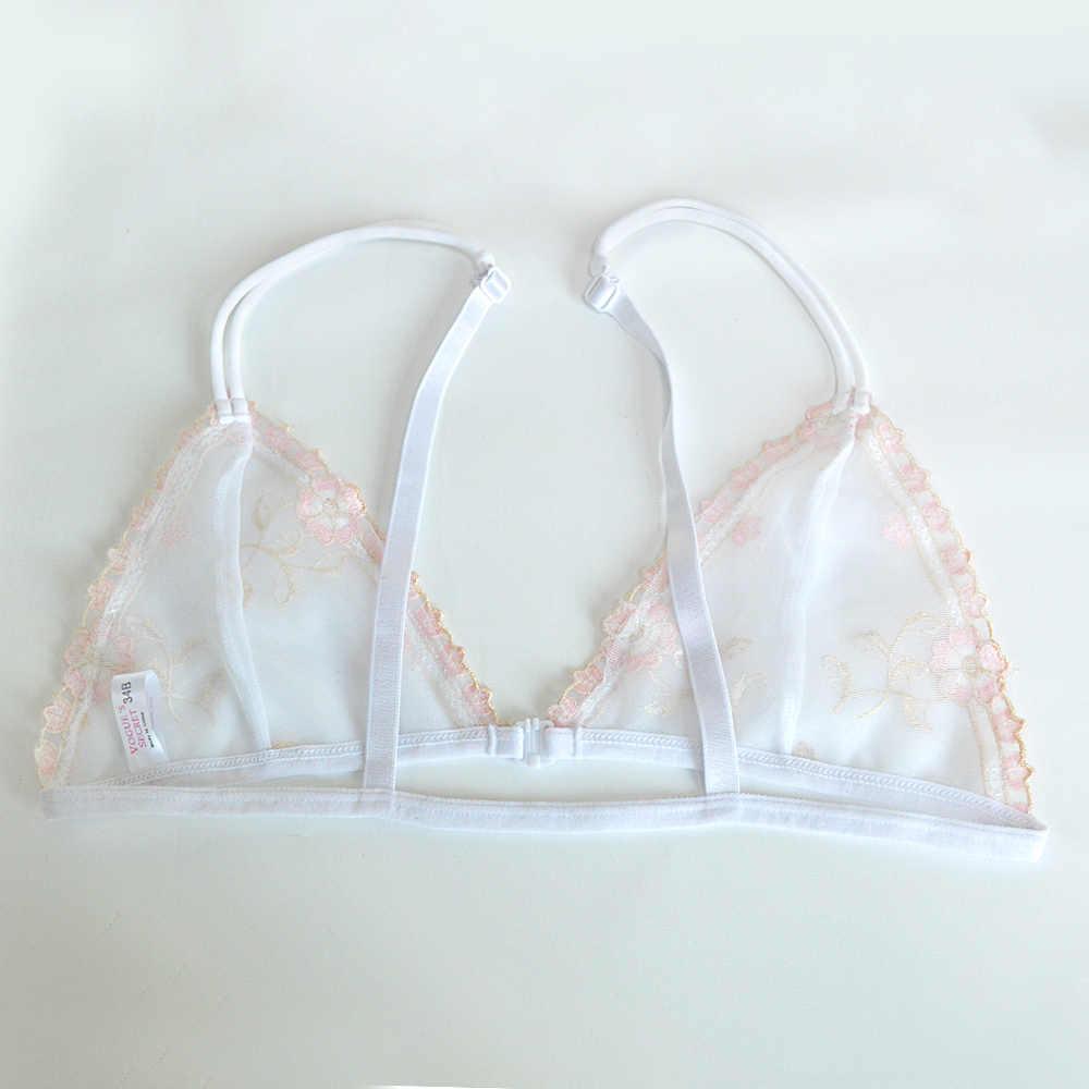 YANDW nuevos sujetadores de encaje para mujeres Sexy Lencería Floral bordado fino talla grande sujetador sin aros Deep A B C D 32 34 36 38 40 42 44