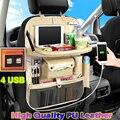 (4 USB) Высококачественная кожаная Автомобильная задняя сиденье многокарманный Органайзер Автомобильная сумка на спинку кресла автомобильн...