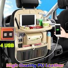 (4 USB) organizador do Banco Traseiro Do Carro de Multi Bolso de Couro de alta Qualidade Assento de Carro de Volta Saco Organizador Da Viagem de Carro com a Bandeja para Crianças
