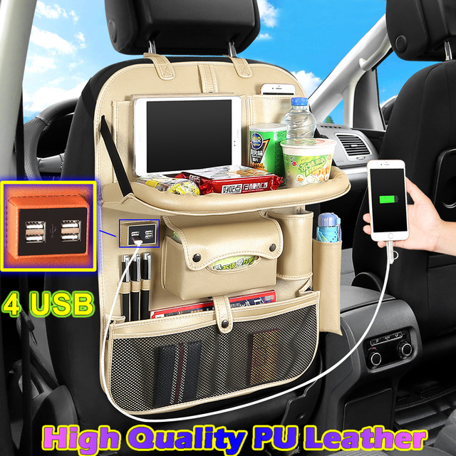 (4 USB) High Quality Leather Car Rear Seat Organizer Multi Pocket Seat Back Bag Universal Car Hanging Storage Bag Foldable Shelf