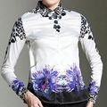 Новый 2016 женщин Рубашка Топ Blusas Высокое Качество Атласная Блузка Цветочные печать ПОЛО Воротник Однобортный Тонкий OL Топ Для Женщин NC07