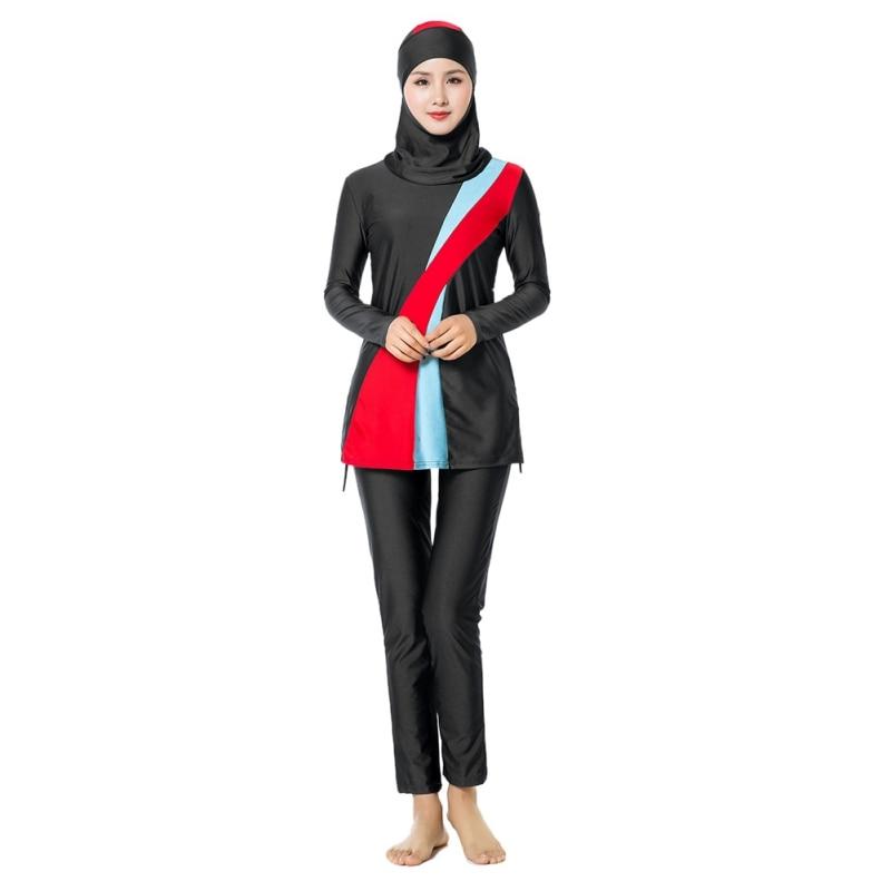 4xl Più Il Formato Musulmano Conservatore Costumi Da Bagno Crema Solare Islamica Ladies 'patchwork Costumi Da Bagno Modest Musulmano Set Di Abiti Da Spiaggia Rinfrescante E Benefico Per Gli Occhi
