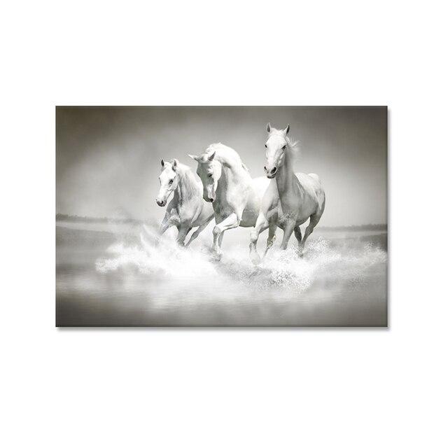 Único moderno lienzo pintura caballo tres caballos Correr sobre ...