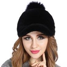 Бейсболка женская Шляпа 100% Натуральный Рекс Кролика Зимние Шапки Для Женщин Мода Caps Теплый Шапочки Леди головные уборы кости
