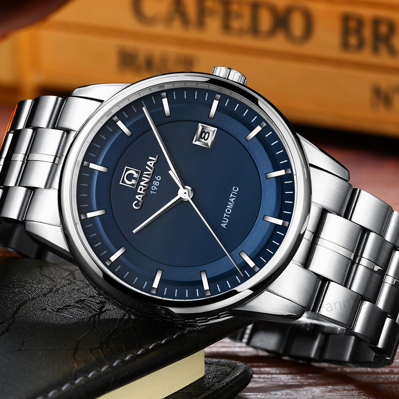 Carnival Mechanical Watch Men Import movement Luxury Stainless Steel business Calendar Sapphire Wristwatch reloj hombre relojes full stainless steel men s sprot watch black and white face vx42 movement