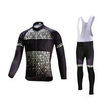 Велоспорт Джерси Набор с длинным рукавом мужская велосипедная одежда быстросохнущая велосипедная одежда из трикотажа MTB Maillot Ropa Ciclismo с гелевой подкладкой