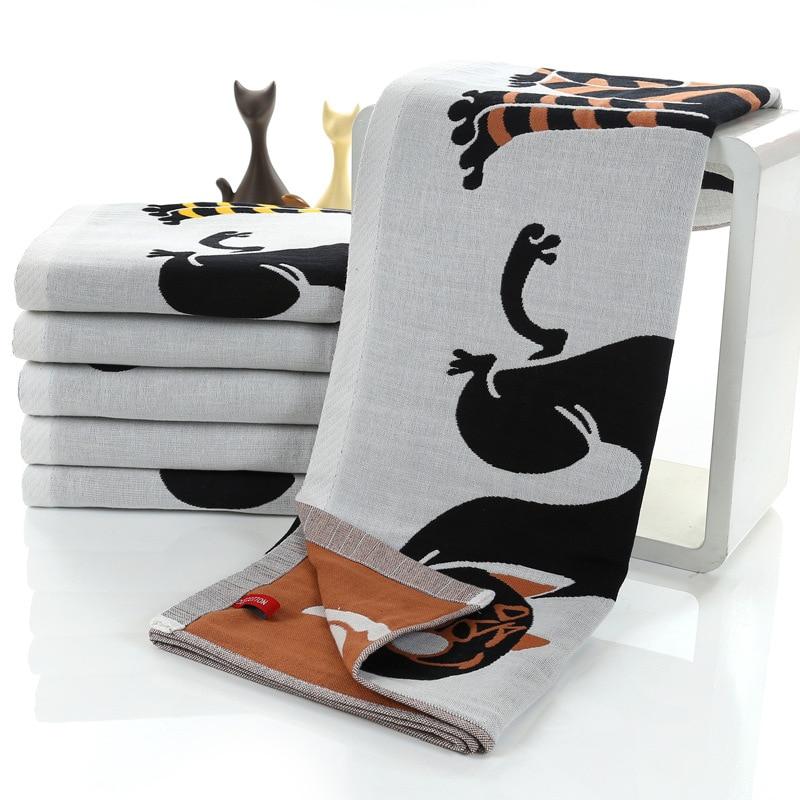 Geometric Cat Pattern Bath Towel Pure Cotton