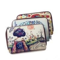 Fashion Hand Drawn Printing Coin Purse Cow Split Leather Multi Card Organ Card Holder Case Genuine