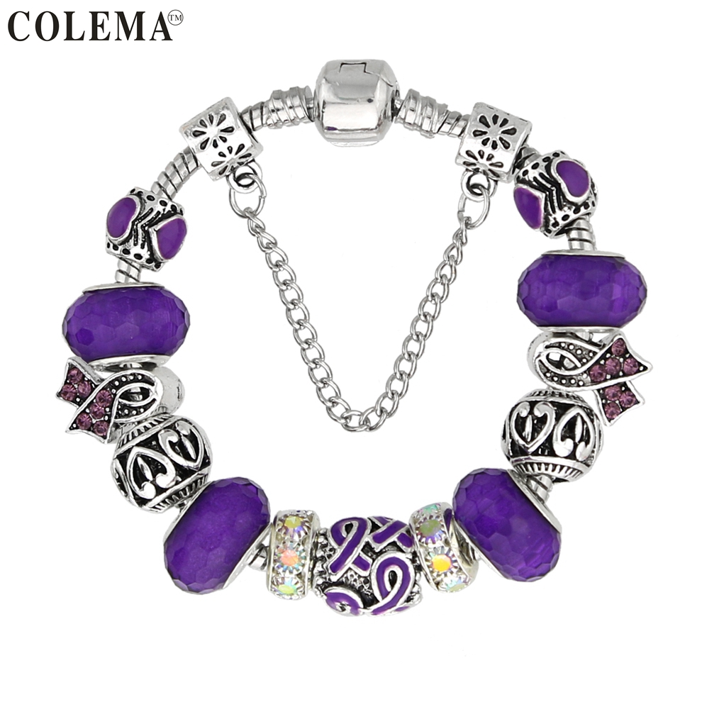 Luxury Brand Women Bracelet Silver Plated Ribbon Charm Bracelet for Women DIY Purple Beads Bracelets Bangles