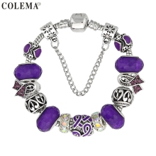 Luxury Brand Women Bracelet Silver Plated Ribbon Charm Bracelet for Women DIY Purple Beads Bracelets & Bangles Jewelry Gift