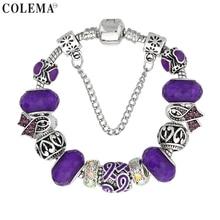 Luxury Brand Women Bracelet Silver Plated Ribbon Charm Bracelet for Women DIY Purple Beads Bracelets & Bangles Jewelry Gift