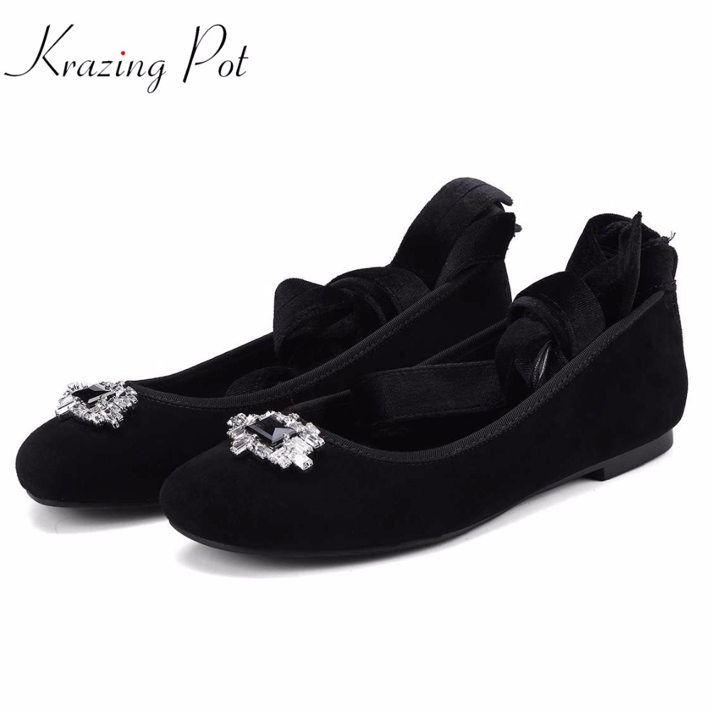 Krazing pot new superstar brand crystal buckle round toe sheep suede slip on flats fashion loafers pregnant cozy women shoes L12 krazing pot empty after shallow shoes woman lace work flats pointed toe slip on sheep suede causal summer outside slippers l16