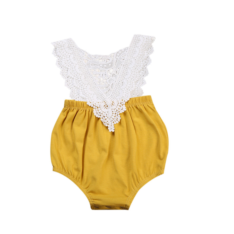 Newborn Toddler Baby Girls Cotton   Romper   Backless Yellow Jumpsuit Clothes Hollow Lace Patchwork Baby Clothes Outfits 0-24M
