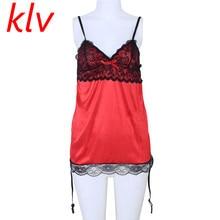 40f625b5e761 Klv 2017 mujeres verano dormir atractiva rojo y negro Encaje g-secuencia  del vestido de noche Lencería robe sexy Camisones