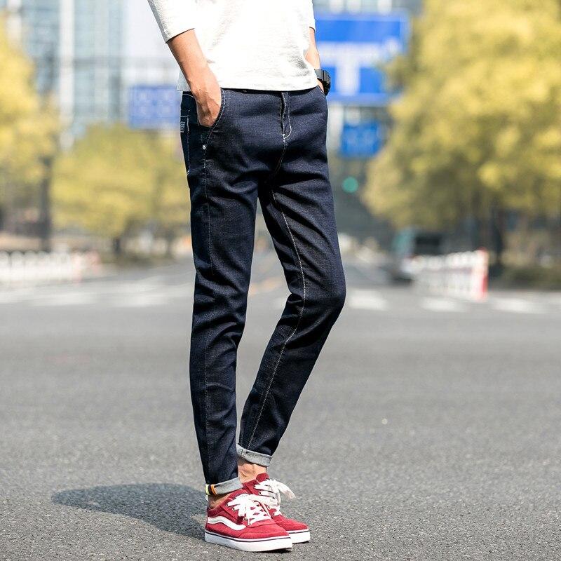 2018 Nuova Estate Sottile Fresco Jeans Uomo Large Size Baggy Pantaloni Blu Cotone Maschio Casuale A Vita Alta Pantaloni In Denim Lavato