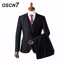 OSCN7 Wool Formal Business Solid Custom Made Men Suit Blazers Retro Tailor Made Slim Fit Wedding Suits for Men 3 Piece ZM-564