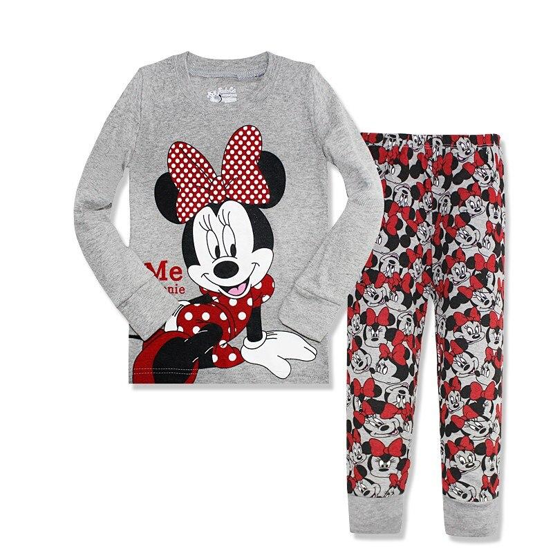Подарки 2016 Пижама с принтом для девочек с длинным рукавом Минни пижамы детские пижамы из хлопка для маленьких девочек одежда