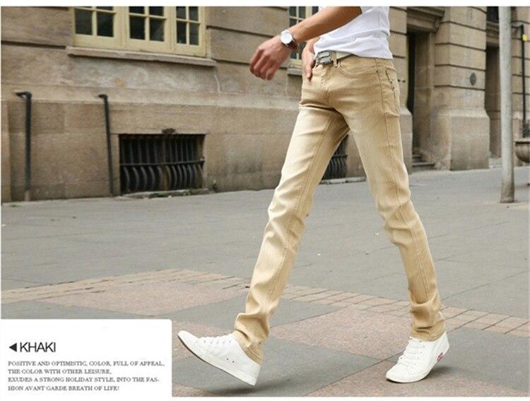 Мужские обтягивающие джинсовые брюки, небесно-голубые/белые однотонные зауженные джинсы, брюки стрейч, повседневный стиль, на весну-лето