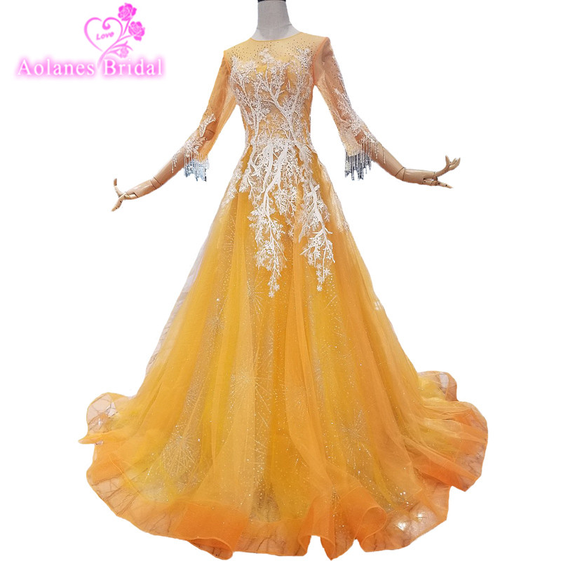 2018 New Gold Tulle Bead Applique O-neck A-line Party Prom Dress 3/4 Long SLeeves Floor-length Illusion Evening Dresses Real