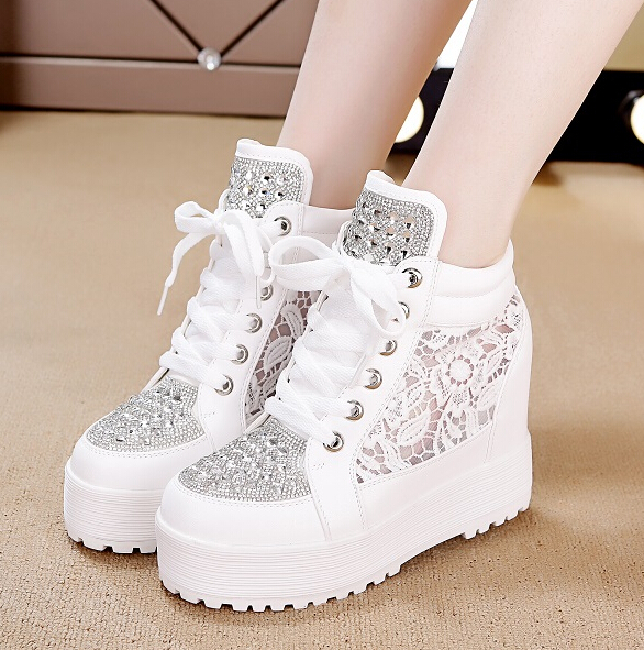 10cm 8cm High thick Bottom Women Platform Flats Fashion Lace Hollow Floral White Casual Canvas Shoes Zapatos Mujer summer women shoes casual cutouts lace canvas shoes hollow floral breathable platform flat shoe sapato feminino lace sandals