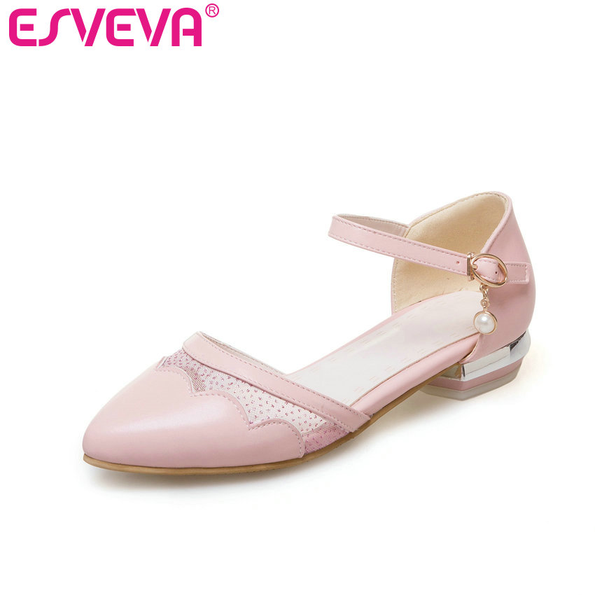 ESVEVA 2017 Women Pumps Ankle Strap Pointed Toe Dating Shoes Soft  PU Women Pumps Square Low Heel Sweet Shoes Plus Size 34-43 esveva 2017 ankle strap high heel women pumps square heel pointed toe shoes woman wedding shoes genuine leather pumps size 34 39