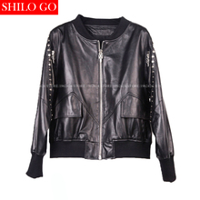 Fashion women high quality Sheepskin round neck zipper Cross metal rivets locomotive black genuine leather baseball jacket XXXL