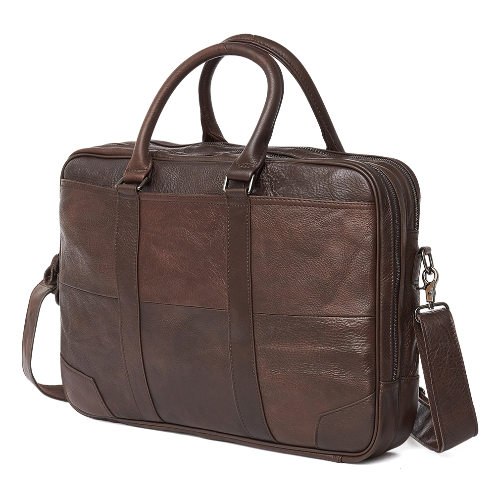 Brand New Genuine Leather Shoulder Bag Men's Handbag Male Cowhide Messenger Bag Cross Body Handle Pack 15' Briefcase Portfolio