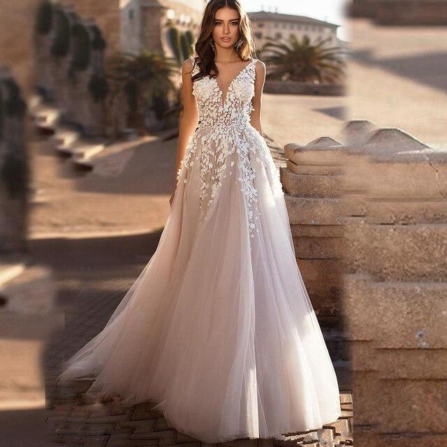 Graceful V neck Backless 3D Floral Wedding Dresses Off the Shoulder Applique Long Nude Pink Formal Bridal Gown Vestido de Noiva 1