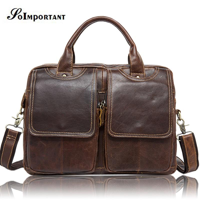 Vintage Genuine Leather Mens Bags Tote Crossbody Bags Male Handbag Briefcase Laptop Messenger Bag Men's shoulder Travel Bags