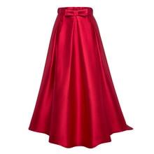 New Elegant Skirt Women High Waist Red Solid Color Long Skirts Girls Plain Party Ankle -Length Zipper Bowknot