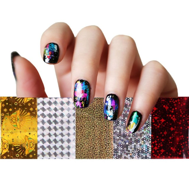 50 farben nail art aufkleber multicolor galaxy muster fr nagel aufkleber manikre gemischt nail wraps foil - Muster Fur Nagel