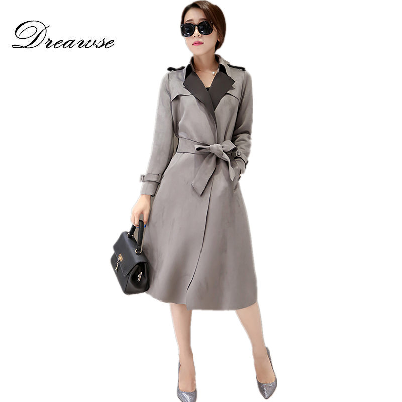 Dreawse Women Suede   Trench   Coat Autumn Lace Up Suede Elegant Outwear   Trench   Femme Long Chaquetas Invierno Mujer Coat MZ2820