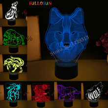 7 Color 3D Visual Lamp Wolf LED Light Animal Night USB Table Desk Home