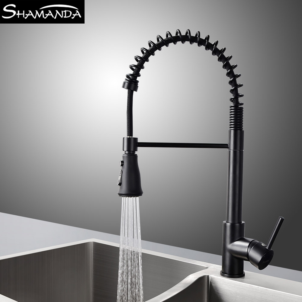 New Design Free Shipping Brass Chrome Pull Up Down Spring Kitchen Faucet 2 Ways Water Black