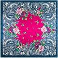 90 cm * 90 cm hermosa de Bohemia flores de marañón bandana 2017 echarpes pañuelos para las mujeres fulares femme marca luxe musulmán hijab A350