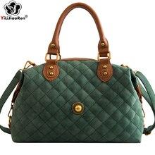 Fashion Plaid Women Handbag Nubuck Leather Ladies Hand Bags Big Shoulder Bag Famous Brand Crossbody for Sac A Main