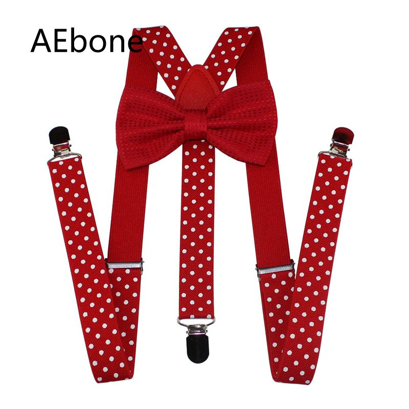 AEbone Red Bow Tie And Suspenders For Women Men Polka Dot Strap Belts Suspenders For Pants Burgundy Suspensorio Adulto Sus57