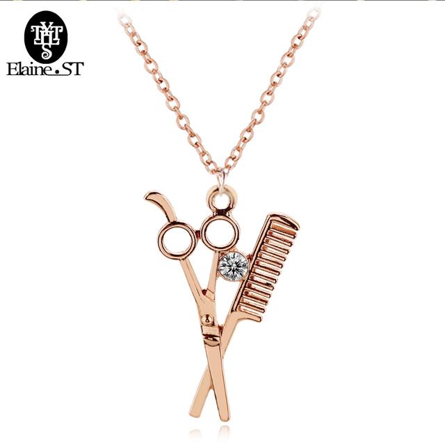 Wholesale 50pc HIP Hop Comb Necklace 4 colors Scissor&Comb crystal Pendants Necklaces for Women Jewelry accessories