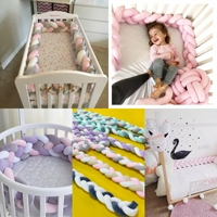 2M Length Woven Knotted Baby Bed Bumper Crib Anti collision Protection Baby Bed Surrounding Bed Pillow Baby Bedding Set