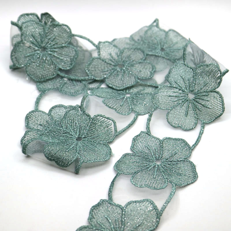1yd Heart Flower Diamond Lace Edge Trim Dress Ribbon Applique DIY Sewing Craft