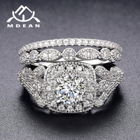 MDEAN White Gold Color Engagement Rings Set For Women Wedding Clear AAA Zircon Fashion Jewelry Bague